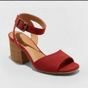 Open Toe Quarter Strap Microsuede Heeled S…